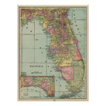 Mapa del vintage de la Florida (1909) Póster