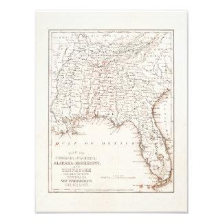 Mapa del vintage de la Florida Alabama Georgia Mis Fotografía
