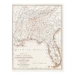 Mapa del vintage de la Florida Alabama Georgia Tarjeta Postal