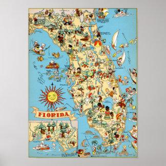 Mapa del vintage de la Florida Póster