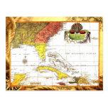 Mapa del vintage de la Florida y del Caribe Postales