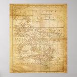 Mapa del vintage de la impresión archival de Austr