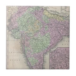 Mapa del vintage de la India (1853) Azulejo Cuadrado Pequeño