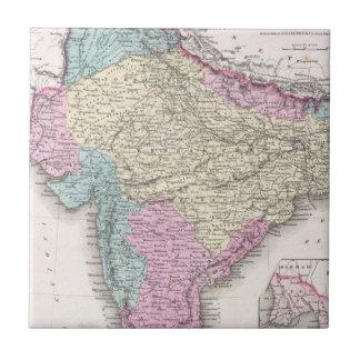 Mapa del vintage de la India (1855) Azulejo Cuadrado Pequeño