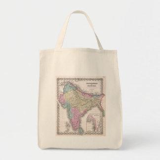 Mapa del vintage de la India (1855) Bolsas De Mano