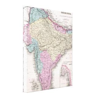 Mapa del vintage de la India (1855) Lienzo Envuelto Para Galerias