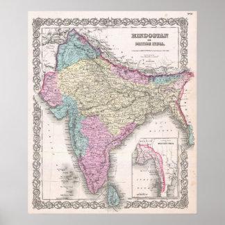 Mapa del vintage de la India (1855) Póster