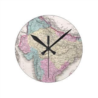 Mapa del vintage de la India (1855) Reloj Redondo Mediano