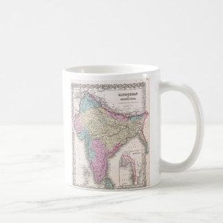Mapa del vintage de la India (1855) Taza De Café