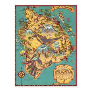 Mapa del vintage de la isla de Hawaii Tarjetas Postales