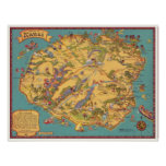 Mapa del vintage de la isla de Kauai Impresiones