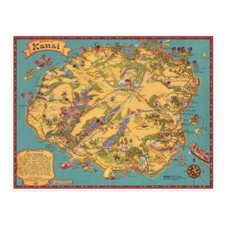 Mapa del vintage de la isla de Kauai Postales