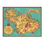 Mapa del vintage de la isla de Maui Postales