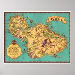 Mapa del vintage de la isla de Maui Póster