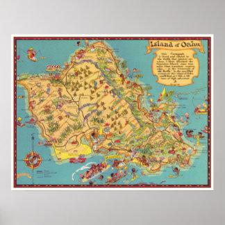 Mapa del vintage de la isla de Oahu Posters