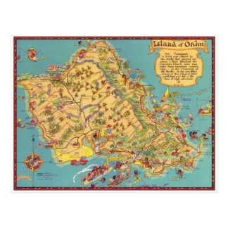 Mapa del vintage de la isla de Oahu Tarjetas Postales