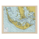Mapa del vintage de la isla de Sanibel Impresiones