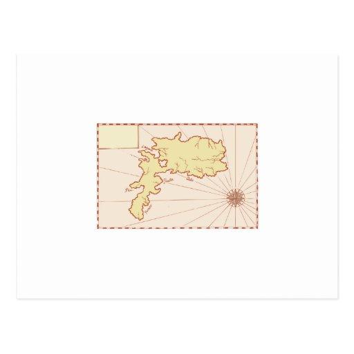 Mapa del vintage de la isla postal