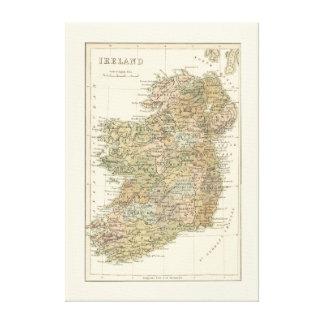 Mapa del vintage de la lona 1862 de Irlanda Impresión En Lona Estirada