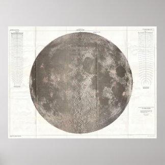 Mapa del vintage de la luna (1961) póster