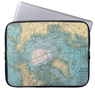 Mapa del vintage de la manga ártica del ordenador  funda ordendadores