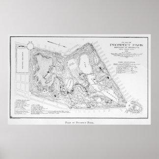 Mapa del vintage de la perspectiva Park (1901) Póster
