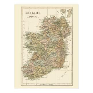 Mapa del vintage de la postal 1862 de Irlanda