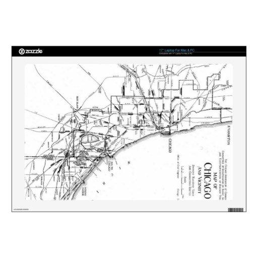 Mapa del vintage de la red ferroviaria de Chicago  Calcomanías Para 43,2cm Portátiles