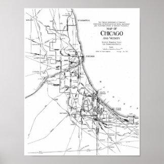 Mapa del vintage de la red ferroviaria de Chicago  Posters
