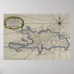 Mapa del vintage de la República Dominicana (1750) Posters