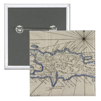Mapa del vintage de la República Dominicana (1750) Pins