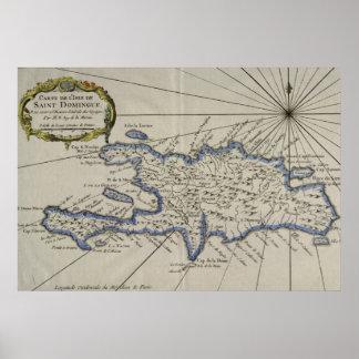 Mapa del vintage de la República Dominicana (1750) Póster