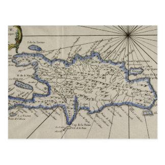 Mapa del vintage de la República Dominicana (1750) Tarjetas Postales