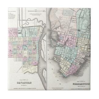 Mapa del vintage de la sabana y de Charleston (185 Azulejo Cuadrado Pequeño