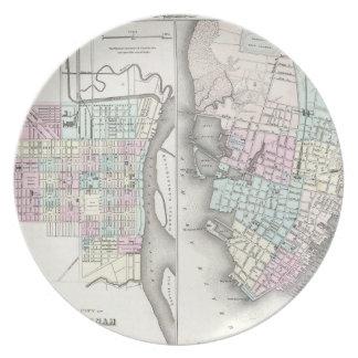 Mapa del vintage de la sabana y de Charleston (185 Plato