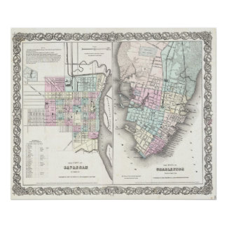 Mapa del vintage de la sabana y de Charleston (185 Póster