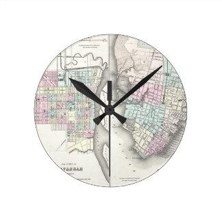 Mapa del vintage de la sabana y de Charleston (185 Reloj Redondo Mediano