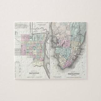 Mapa del vintage de la sabana y de Charleston (185 Rompecabezas Con Fotos