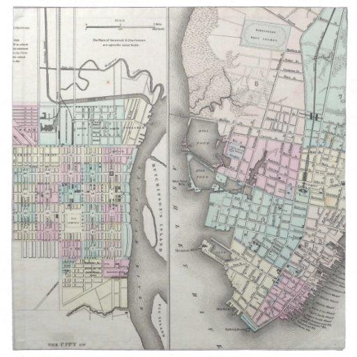 Mapa del vintage de la sabana y de Charleston (185 Servilleta Imprimida