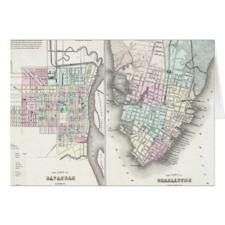 Mapa del vintage de la sabana y de Charleston (185 Tarjeta De Felicitación