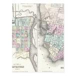 Mapa del vintage de la sabana y de Charleston (185 Tarjeta Postal