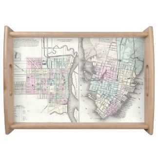 Mapa del vintage de la sabana y de Charleston Bandejas