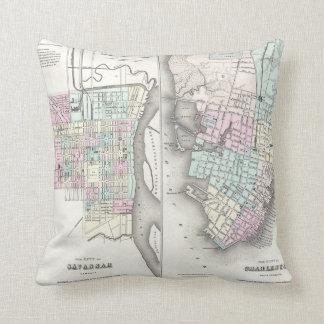 Mapa del vintage de la sabana y de Charleston Cojín