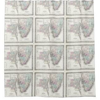 Mapa del vintage de la sabana y de Charleston Cortina De Baño