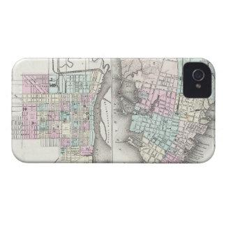 Mapa del vintage de la sabana y de Charleston iPhone 4 Case-Mate Cobertura