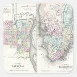 Mapa del vintage de la sabana y de Charleston Calcomanía Cuadradas Personalizada