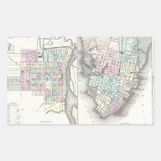 Mapa del vintage de la sabana y de Charleston Pegatina Rectangular
