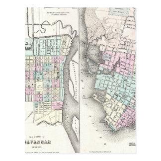 Mapa del vintage de la sabana y de Charleston Postal