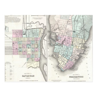 Mapa del vintage de la sabana y de Charleston Tarjeta Postal