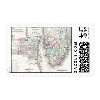 Mapa del vintage de la sabana y de Charleston Timbre Postal